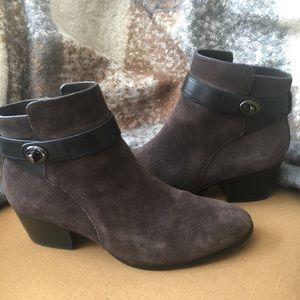 Coach suede and leather ankle boots